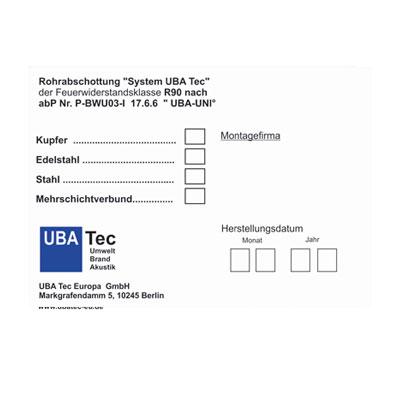 Kennzeichnungsschild- System UBA TEc